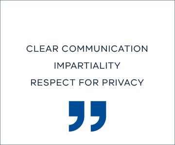 clear communication, impartiality, respect for privacy