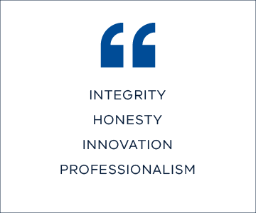 integrity, honesty, innovation, professionalism
